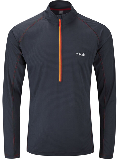 Rab Interval LS Zip Tee Men Ebony